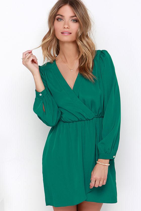 0ad7e74681e3 Cute Forest Green Dress - Wrap Dress - Long Sleeve Dress - $49.00