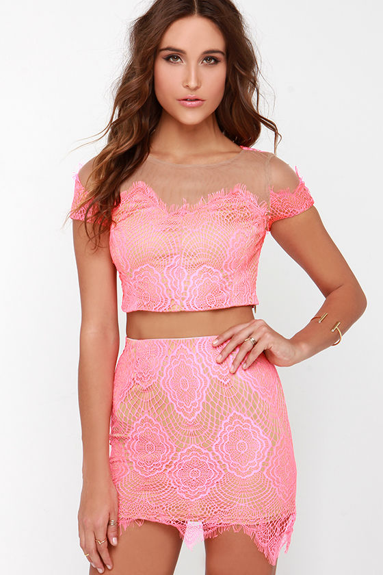 Royal Road Neon Pink Lace Two Piece Dress