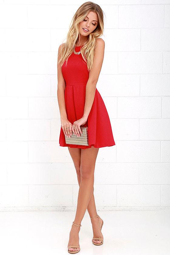 Cute Red Dress - Pleated Dress - Skater Dress - $46.00