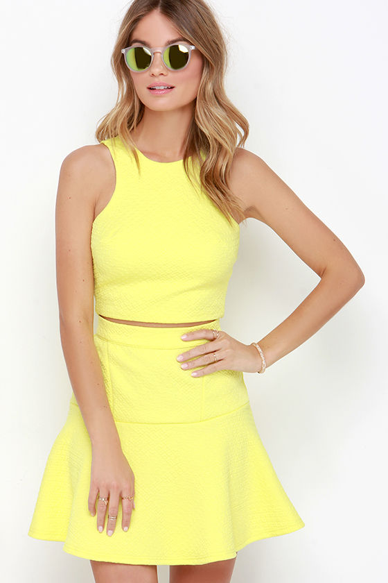 Yellow Dress - Two-Piece Dress - $62.00