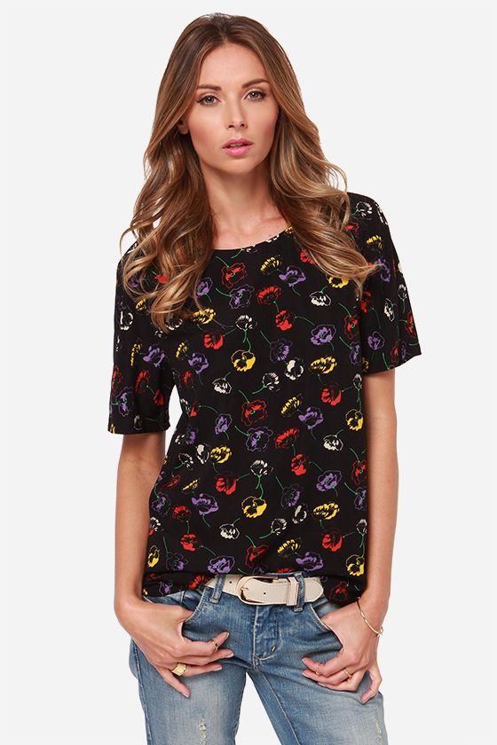 Bittersweet Pea Black Floral Print Top at Lulus.com!