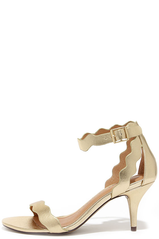 Pretty Gold Heels - Kitten Heels - Dress Sandals - $69.00