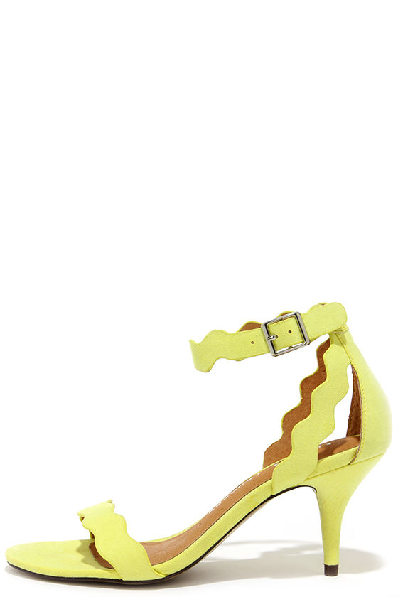 Pretty Yellow Heels - Kitten Heels - Dress Sandals - $69.00