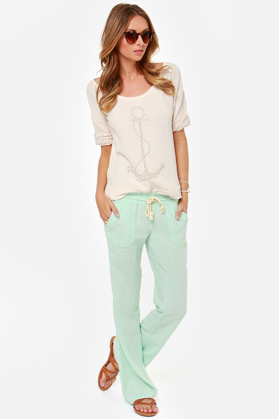 Roxy Ocean Side - Mint Green Lounge Pants - Linen Pants - $39.50