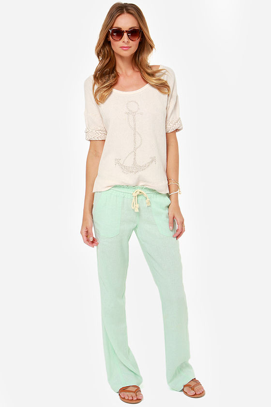 Roxy Ocean Side Mint Green Lounge Pants at Lulus.com!
