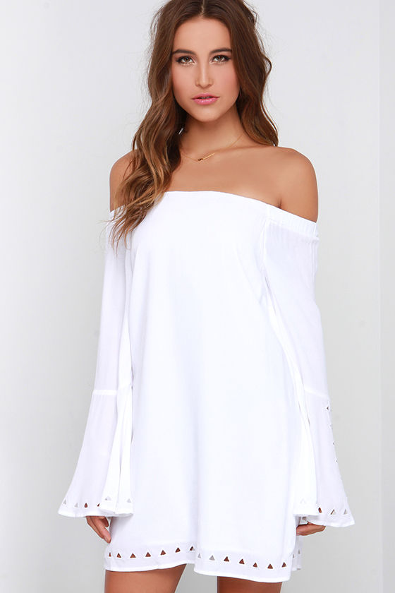 Long Sleeve Dress - Shift Dress - Off-the-Shoulder Dress - White ...