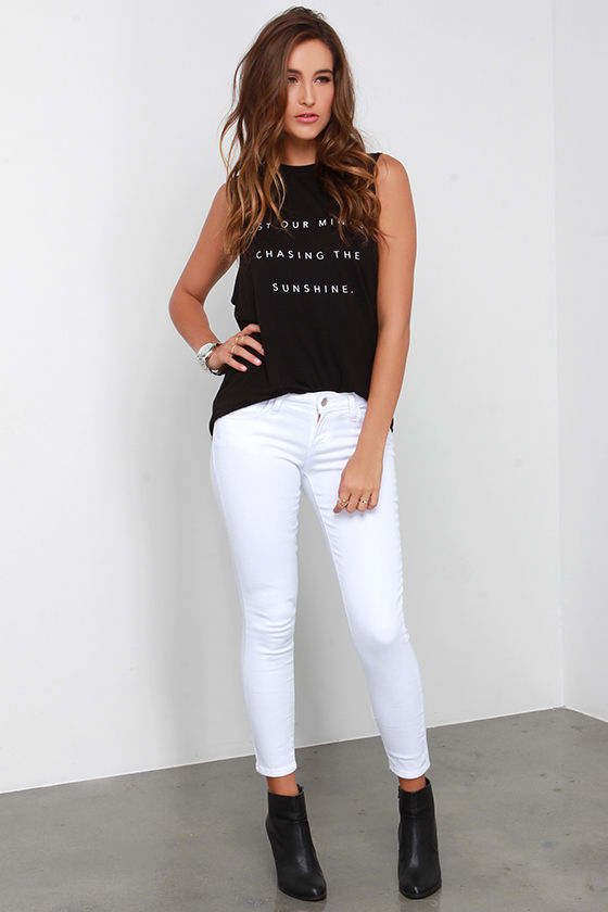 Cute White Jeans - Skinny Jeans - Ankle Jeans - $58.00