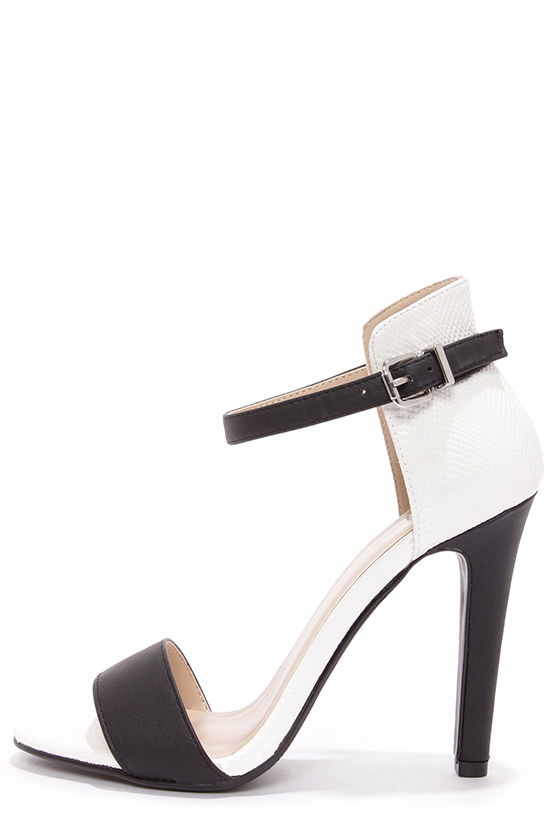 2ee20543229 My Delicious Stick Black and White Reptile High Rise High Heels