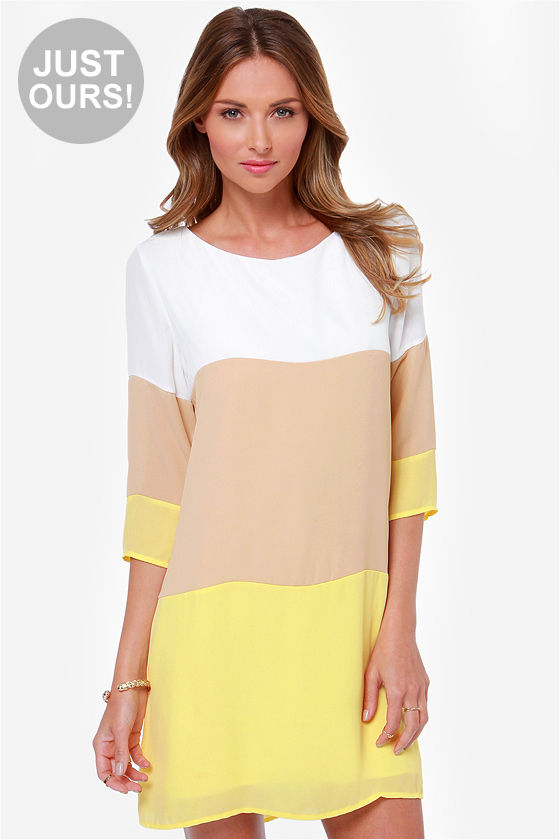 Cute Color Block Dress - Shift Dress - Yellow Dress - $40.00