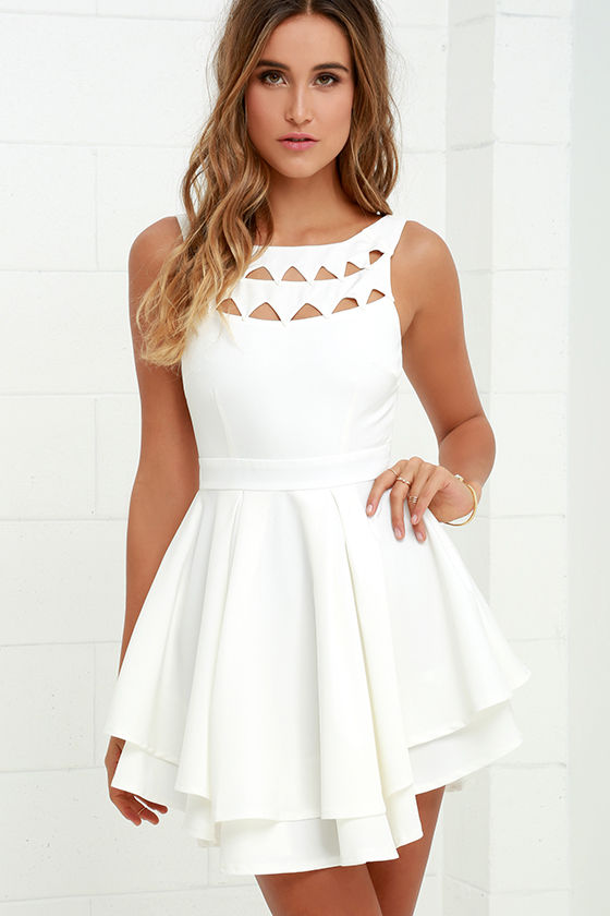 Flirting with Danger Cutout Ivory Dress 1