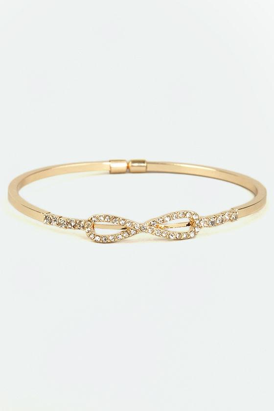 Forever Embedded Gold Rhinestone Bracelet at Lulus.com!