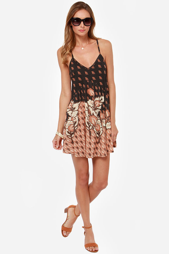 RVCA Whimsy Brown and Black Print Dress at Lulus.com!