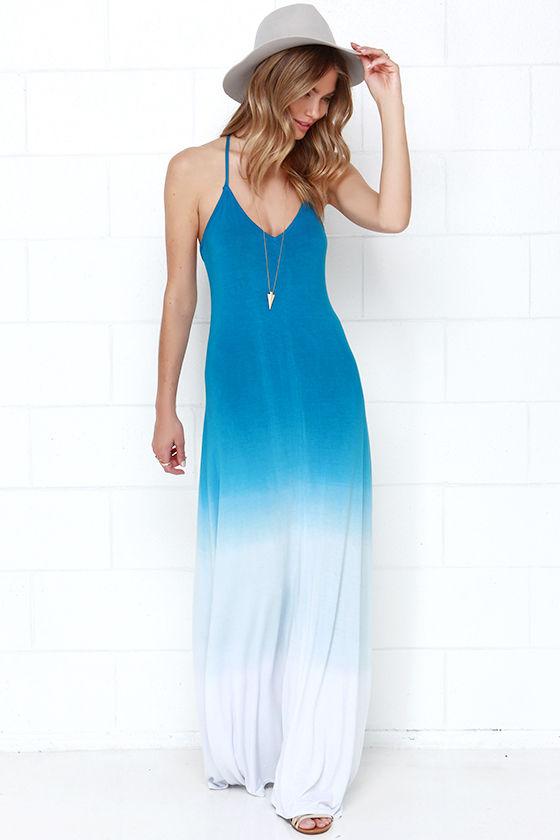 Cute Blue Dress - Maxi Dress - Dip-Dye Dress - $58.00