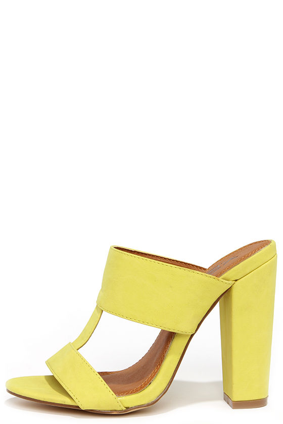View and Improved Lemon Yellow Peep Toe Mules b092f7a732