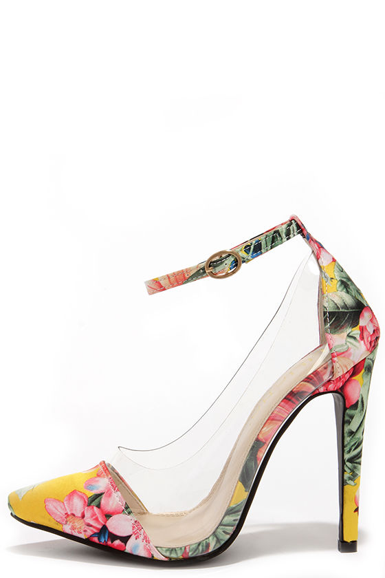 ecba44463846f4 yellow Floral Print Heels - Lucite Heels - Pointed Pumps