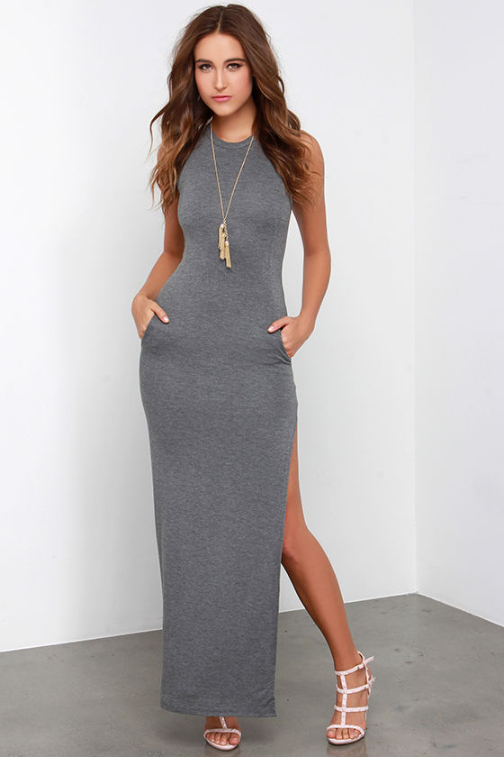 Grey Dress - Maxi Dress - Sleeveless Dress - $40.00