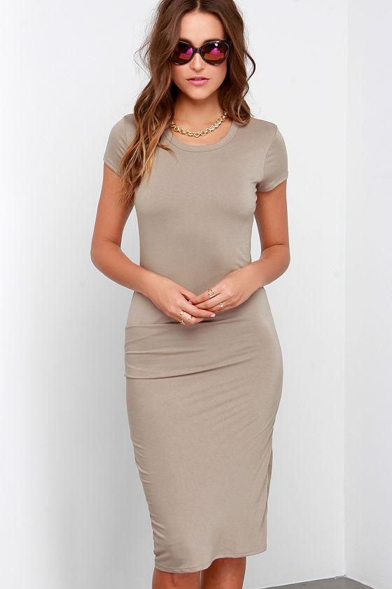 ebc85c382c4 Taupe Dress - Midi Dress - Short-Sleeve Dress -  44.00