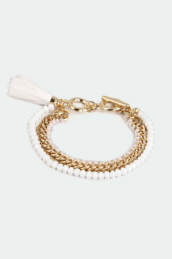 Starting Lineup White Bracelet at Lulus.com!