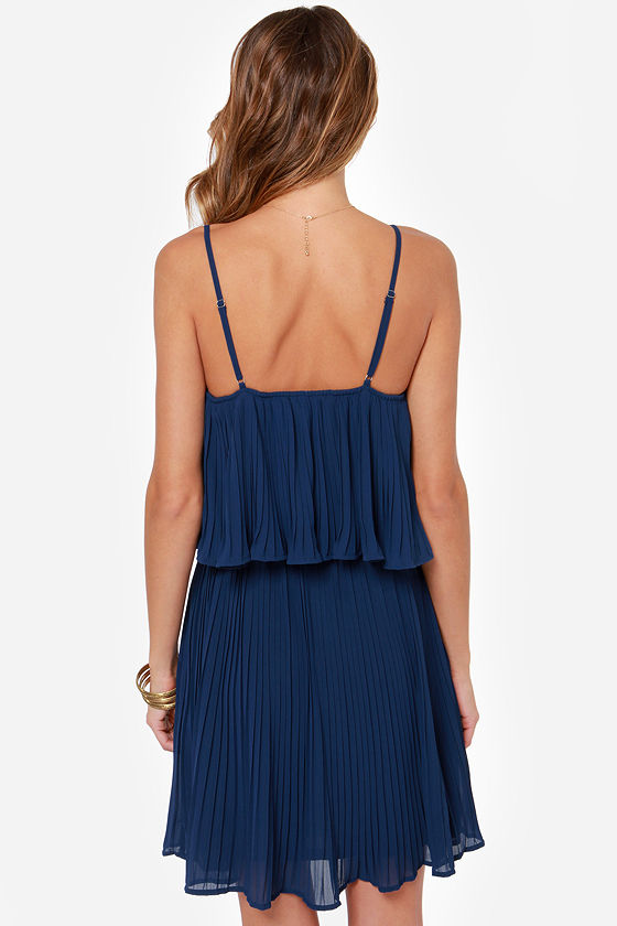 LULUS Exclusive As You Swish Pleated Navy Blue Dress at Lulus.com!