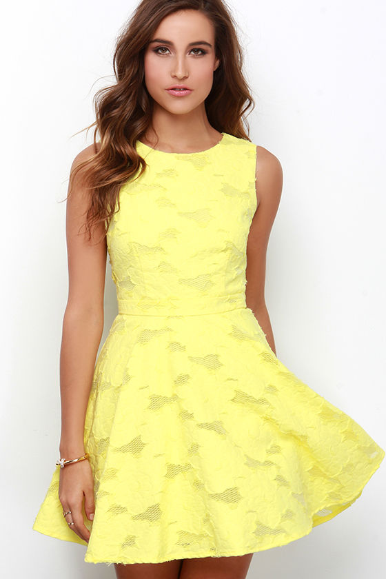 cute yellow dress  skater dress  jacquard dress  7600