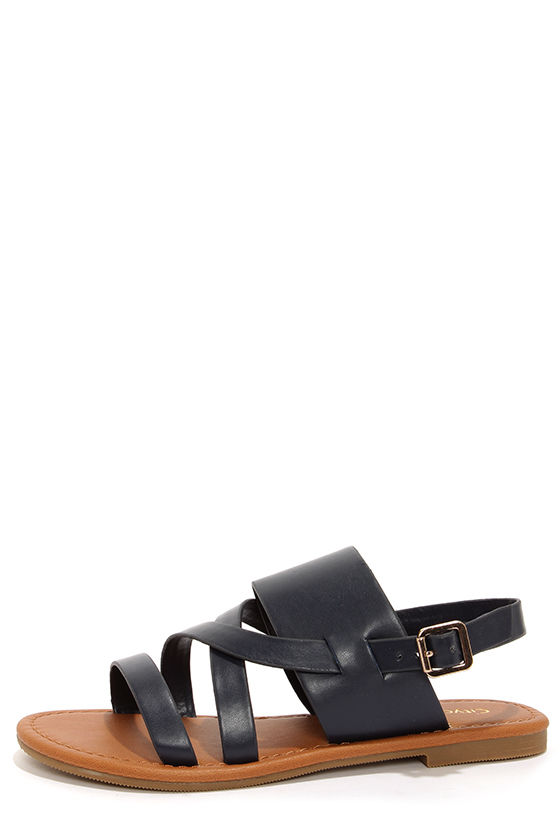 034898ba0e6 Cute Navy Blue Sandals - Flat Sandals -  18.00
