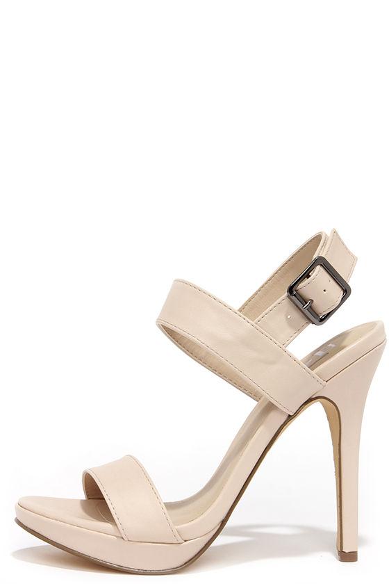 Sexy Nude Heels - High Heel Sandals - $23.00