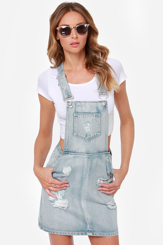 d38e7672380 Mink Pink Instinct - Distressed Overall Skirt - Denim Overalls -  87.00