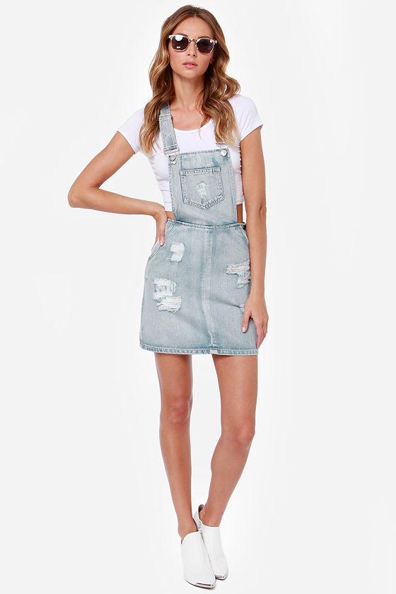 4f44053acf7 Mink Pink Instinct - Distressed Overall Skirt - Denim Overalls -  87.00