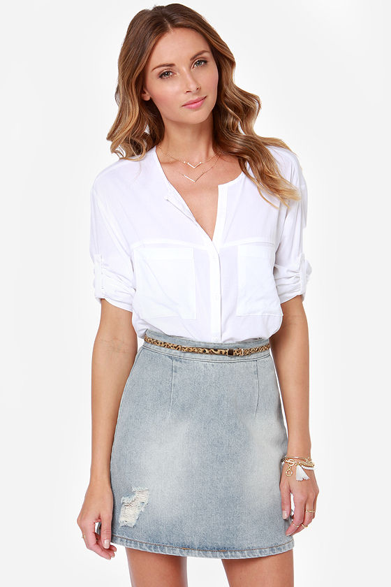 7e20989575 Mink Pink Story to Be Told - Distressed Denim Skirt - High-Waisted Skirt -  $71.00