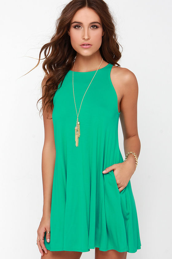 Chic Green Dress - Sleeveless Dress - Trapeze Dress - $38.00