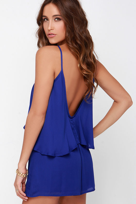aaa8a069b58 Cute Royal Blue Romper - Backless Romper - Sleeveless Romper -  42.00
