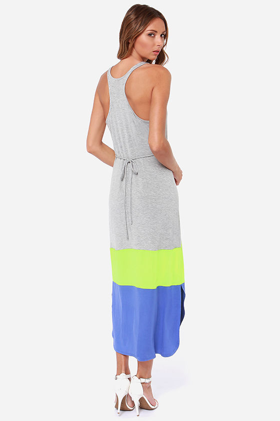 BB Dakota by Jack Carla Grey Color Block Maxi Dress at Lulus.com!