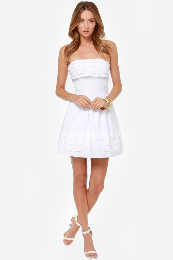 Jack by BB Dakota Megalyn Strapless White Dress at Lulus.com!