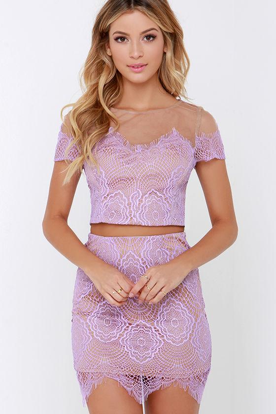 Lavender Dress - Two-Piece Dress - Lace Dress - $63.00