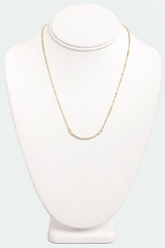 Curve-ous Nelly Gold Rhinestone Necklace at Lulus.com!