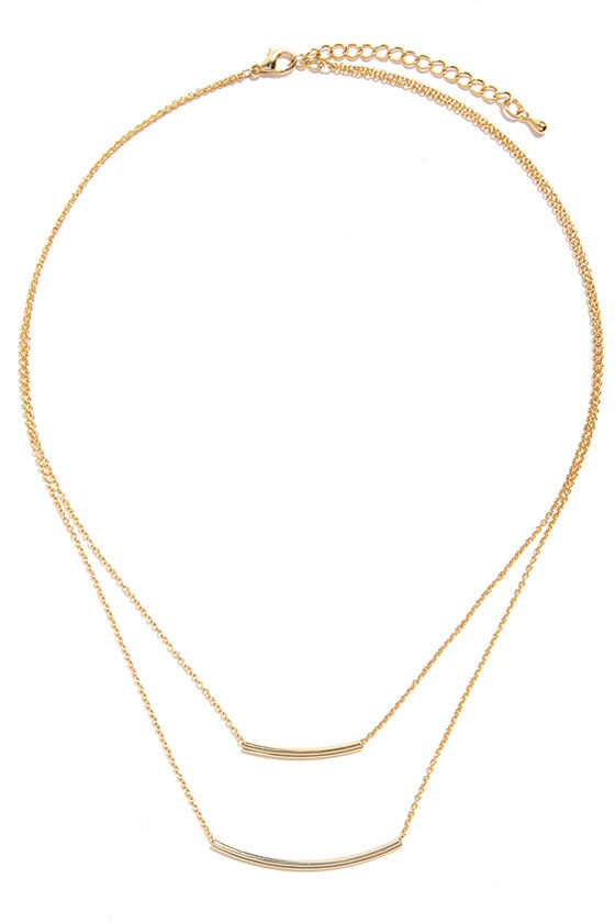Bar-Fetched Gold Layered Necklace at Lulus.com!