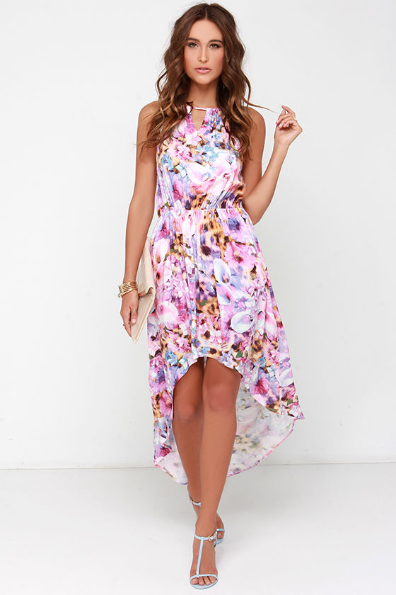 cf5e0b2851 Mink Pink My Sweet Garden - Pink Floral Print Dress - High-Low Dress -   87.00