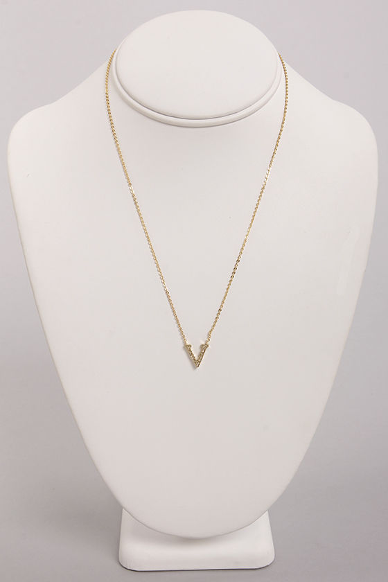 Princess and the V Gold Rhinestone Necklace at Lulus.com!