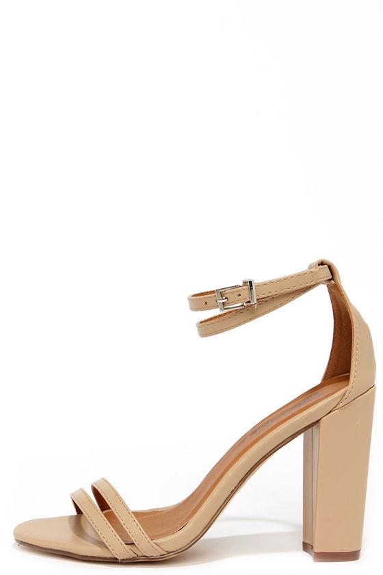 Cute Nude Heels - High Heel Sandals - $27.00