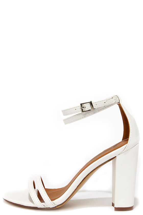 Cute White Heels - High Heels Sandals - $27.00