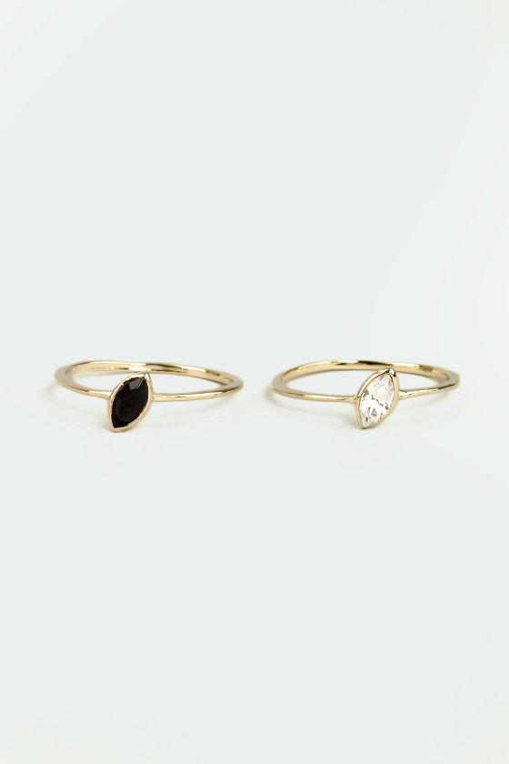 Double Beauty Gold Rhinestone Ring Set at Lulus.com!