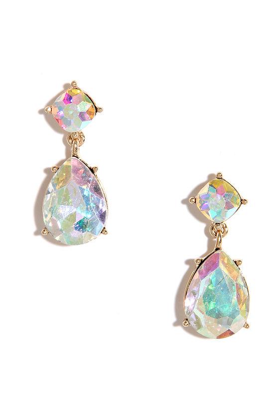 Favorite Pretty Iridescent Earrings - Gold Earrings - Rhinestone Earrings  BC34