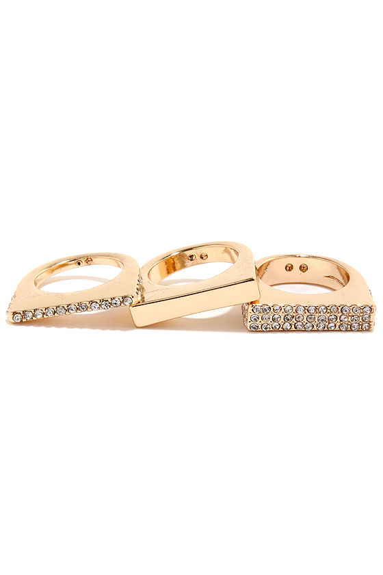 Solid Matter Gold Rhinestone Ring Set
