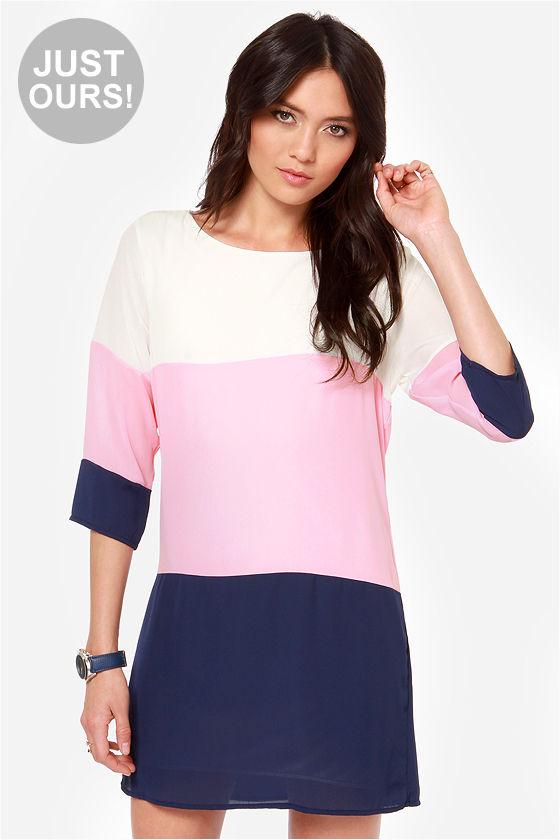 7e8ce04e4453 Cute Pink and Navy Blue Color Block Dress - Shift Dress