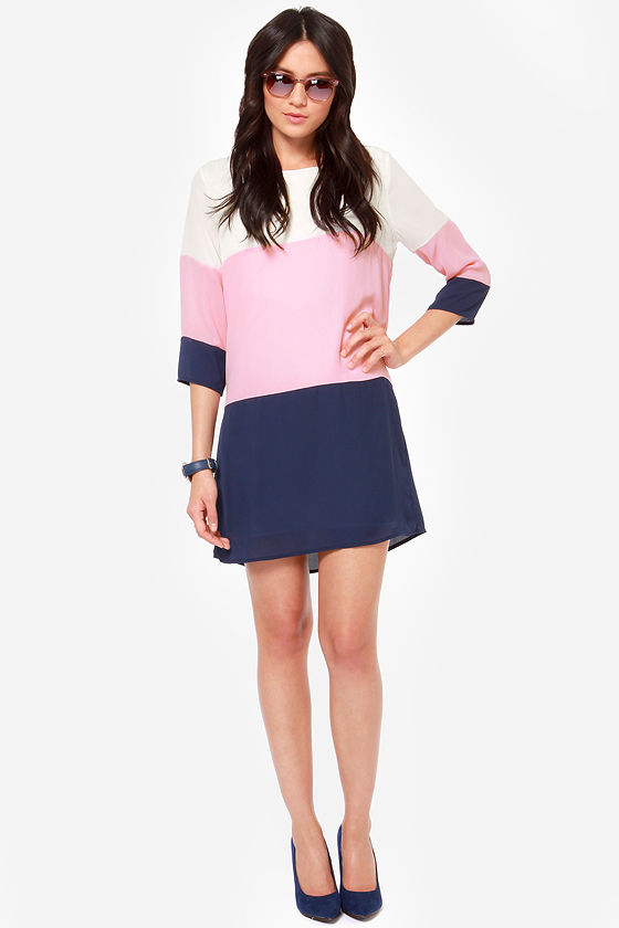 LULUS Exclusive Citrus Grove Pink and Navy Blue Shift Dress at Lulus.com!