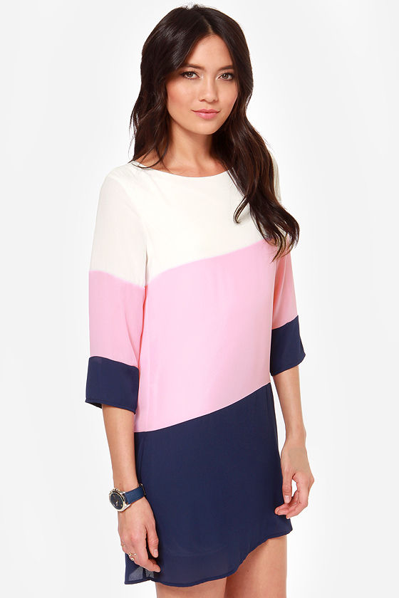 Cute Color Block Dress - Shift Dress - Navy Blue Dress - $40.00