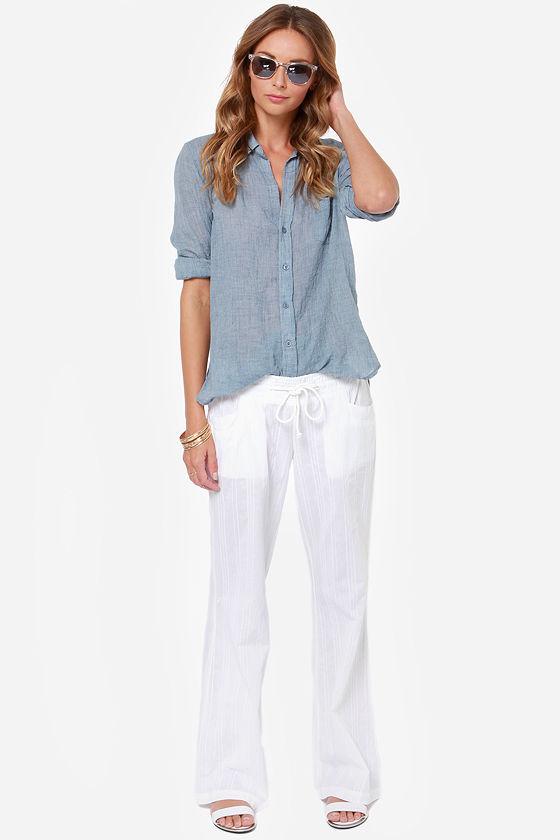 3743d2872d Billabong Coastline Wave Pants - White Pants - Lounge Pants - Beach Pant -  $39.50