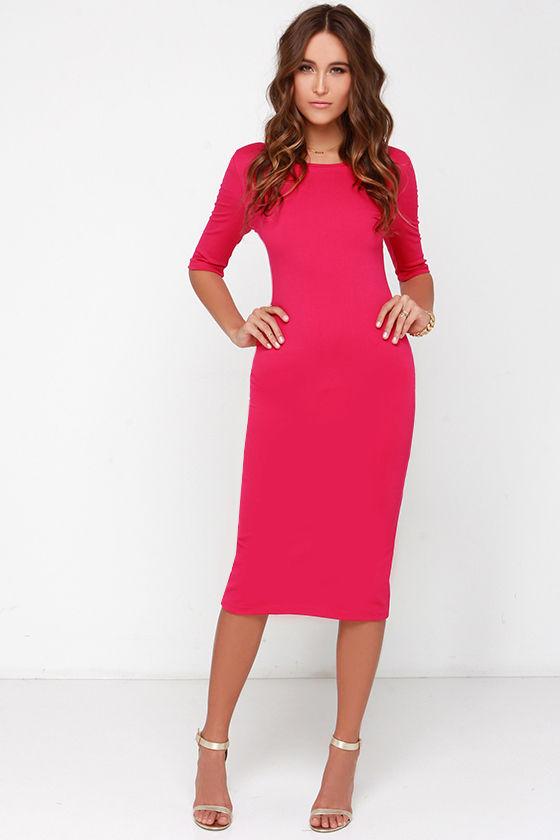 Cute Fuchsia Dress - Midi Dress - Bodycon Dress - Cocktail Dress ...