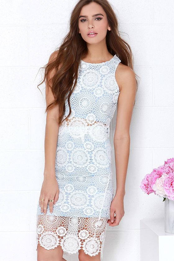 143dcbb9537c Pretty Blue Dress - Lace Dress - Two-Piece Dress -  66.00
