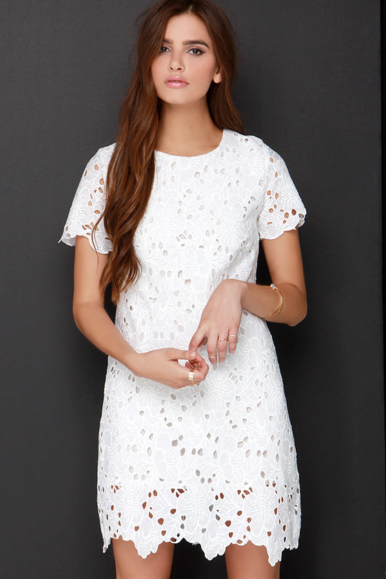 Chic Lace Dress - Ivory Dress - Sheath Dress - $80.00
